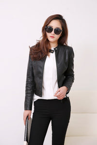 FTLZZ European Style O Neck PU Leather Jacket - TuneUpTrends.com