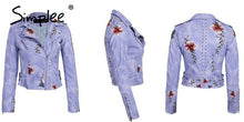 Load image into Gallery viewer, Embroidery Floral Faux White Leather Jacket - TuneUpTrends.com
