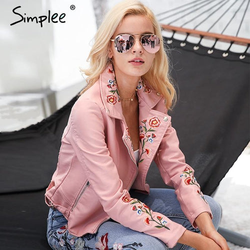 Simplee Embroidery basic jacket coat outerwear - TuneUpTrends.com