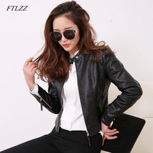 Load image into Gallery viewer, FTLZZ European Style O Neck PU Leather Jacket - TuneUpTrends.com