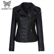Load image into Gallery viewer, AORRYVLA 2018 New Autumn Women Fashion Black Color Faux Leather Jacket - TuneUpTrends.com