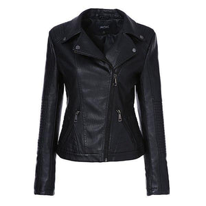 AORRYVLA 2018 New Autumn Women Fashion Black Color Faux Leather Jacket - TuneUpTrends.com