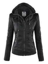 Load image into Gallery viewer, Gothic Faux Leather Jacket Women Hoodies - TuneUpTrends.com