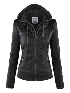 Gothic Faux Leather Jacket Women Hoodies - TuneUpTrends.com