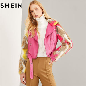 Hot Pink Faux Fur Sleeve Belted PU Leather Outerwear 2018 - TuneUpTrends.com