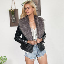Load image into Gallery viewer, Winter Faux Leather Jackets with Fur Collar - TuneUpTrends.com