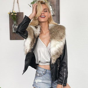 Winter Faux Leather Jackets with Fur Collar - TuneUpTrends.com