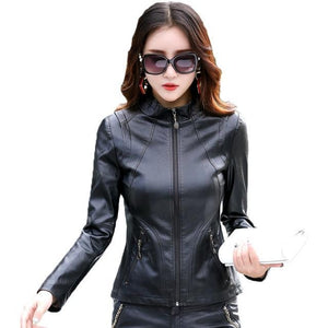 Gray Casual PU Women's Faux Leather Jackets Coat - TuneUpTrends.com