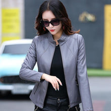 Load image into Gallery viewer, Gray Casual PU Women's Faux Leather Jackets Coat - TuneUpTrends.com