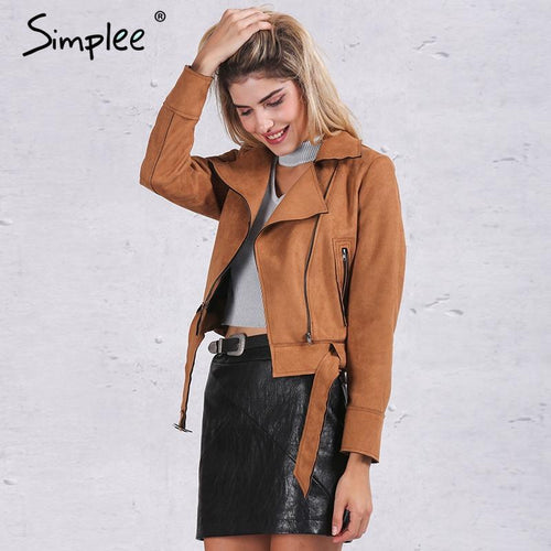 Simplee Apparel Zipper basic suede jacket coat 2018 - TuneUpTrends.com