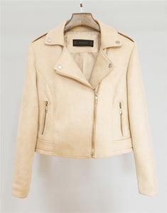 Soft Faux Leather Suede Motorcycle jacket Slim brown - TuneUpTrends.com
