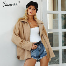 Load image into Gallery viewer, Simplee Elegant faux fur leather coat - TuneUpTrends.com