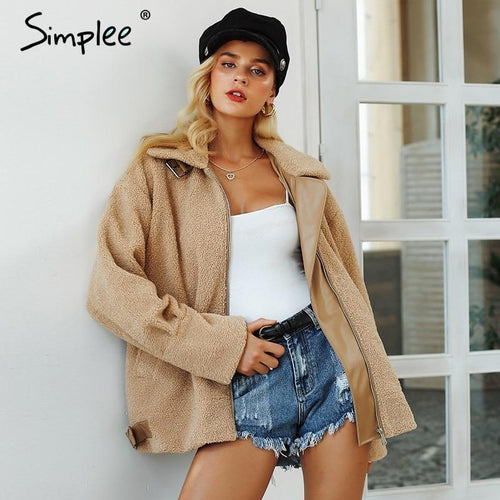 Simplee Elegant faux fur leather loose coat women 2018 - TuneUpTrends.com