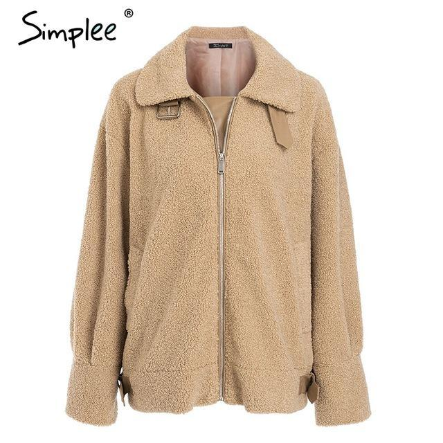 Simplee Elegant faux fur leather coat - TuneUpTrends.com