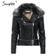 Load image into Gallery viewer, Fur Collar Leather Jacket - TuneUpTrends.com