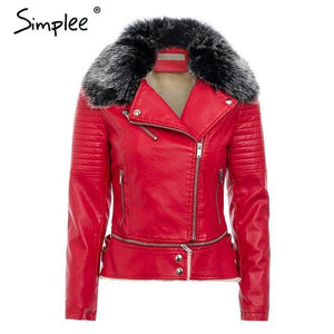 Fur Collar Leather Jacket - TuneUpTrends.com