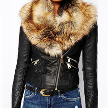 Load image into Gallery viewer, Hot PU Leather Jacket Coat with Faux Fox Fur Collar - TuneUpTrends.com