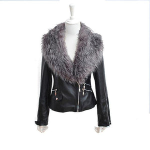 Hot PU Leather Jacket Coat with Faux Fox Fur Collar - TuneUpTrends.com