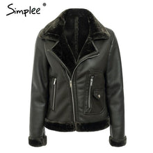 Load image into Gallery viewer, Faux Fur Turndown collar Leather Jacket - TuneUpTrends.com