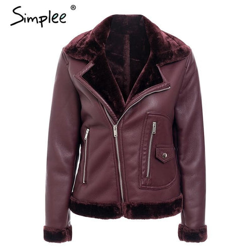 Simplee Sexy faux fur turndown collar PU leather women jacket - TuneUpTrends.com