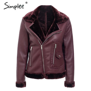 Faux Fur Turndown collar Leather Jacket - TuneUpTrends.com