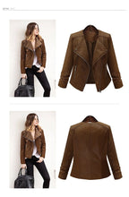 Load image into Gallery viewer, ACHIEWELL Long Sleeve Leather Jacket - TuneUpTrends.com