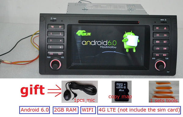 7 inch  Android 6.0 for bmw E39,X5,M5,E53 car dvd,gps,wifi,4G lte,radio RDS,canbus,2GB RAM,quad core,1024x600,support dvr,russia