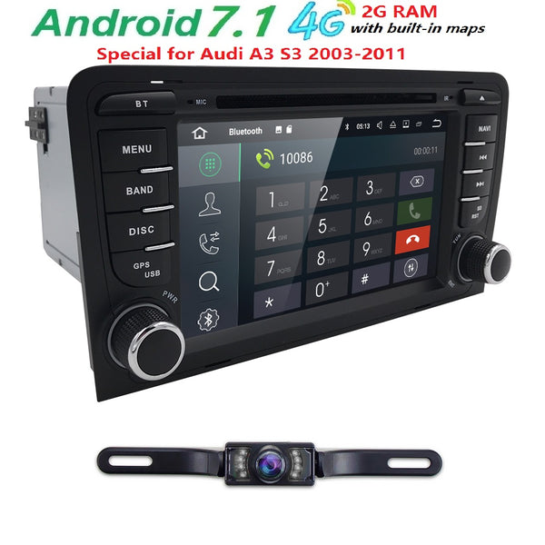 "2Din 7""1024x600 QuadCore 2GB/16GB/32GB Android 7.1 PC Car DVD GPS For Audi A3 S3 2003-2013 With Stereo Radio WiFi 4G OBD DVR CAM"