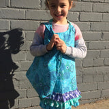 Kids Aqua Apron and Matching Bag