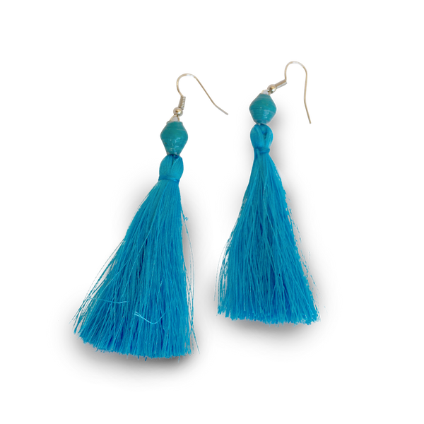 Paper Bead Tassel Earrings