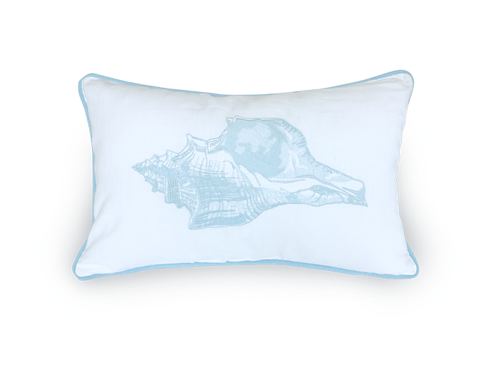 Embroidered Blue Shell Oblong Scatter Cushion