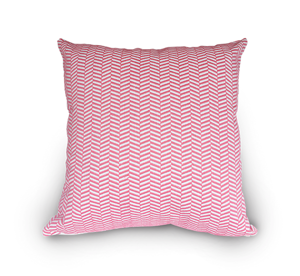 Square Embroidered Herringbone Scatter Cushion