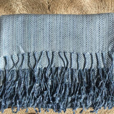 Linen Cotton Throw Blanket Blue