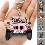Off Road Dog Keychain Double Sided Design, Acrylic Keychain Car For Dog Lovers