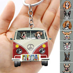 License Plate Hippie Vintage Van Dog Camping Acrylic Keychain, Dog Lover Gift