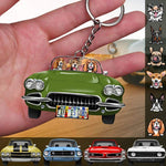 Muscle Car Dog Breeds Custom Acrylic Keychain, Dog Lover Gift, Camping Gift