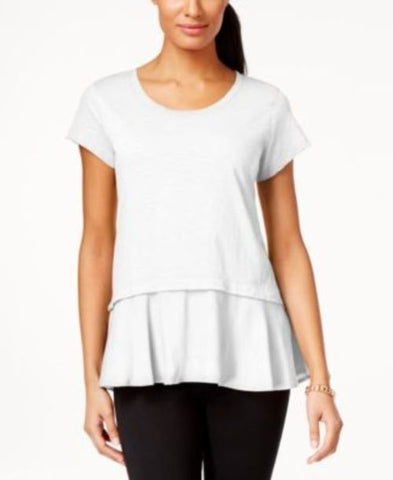 Style & Co. Layered-Look Peplum T-Shirt #269 size L
