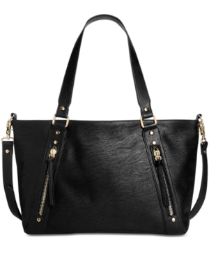 INC International Concepts Emaa Zip Large Satchel Black