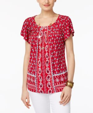 Style & Co Printed Pleat-Neck Top #488 size S