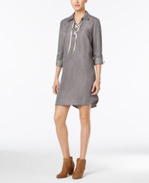 Style & Co. Lace-Up Denim Dress #726 size M