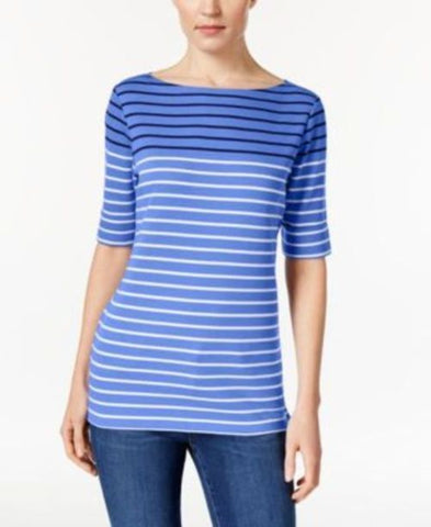 Karen Scott Striped Boat-Neck Top #331 size S