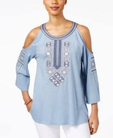 Style & Co Embroidered Cold-Shoulder Top #417 size XL
