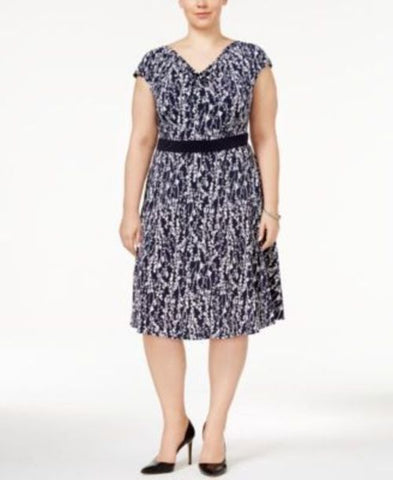 Jessica Howard Plus Size Draped-Neck Dress #773 size 22W
