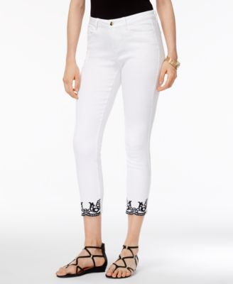 Thalia Sodi Embroidered Skinny Ankle Jeans #207 size 8