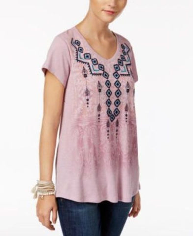 Style & Co Embroidered Graphic-Print Top #246 size M