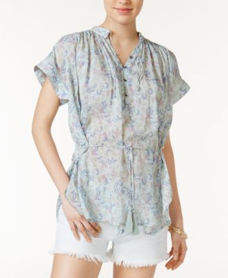 William Rast Alannah Floral-Print Tasseled Top #105 size M