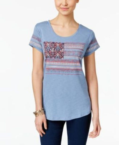 Style & Co Embroidered Flag T-Shirt #247 size L