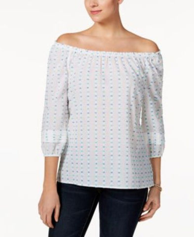 Charter Club Cotton Off-The-Shoulder Textured Top #646 size M