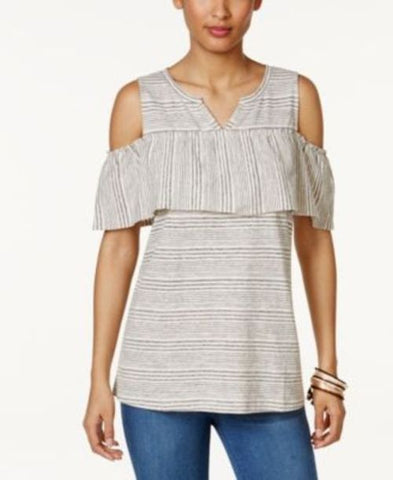 Style & Co Striped Cold-Shoulder Top #507 size L