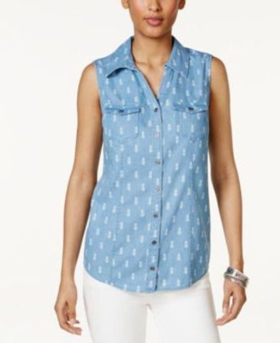 Style & Co Pineapple-Print Denim Shirt #642 size L